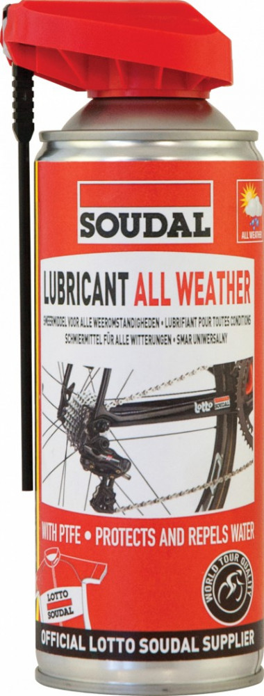Kerékpárhoz NÉGY ÉVSZAKOS OLAJ SPRAY PTFE 400ML SOUDAL Lubricant all weather